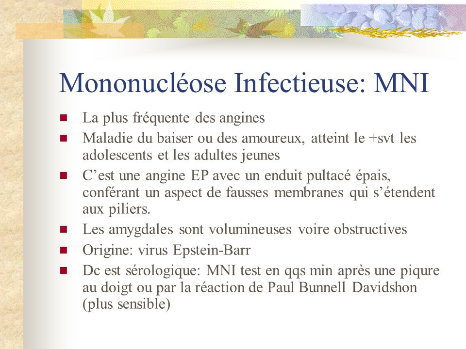 Mononucléose Infectieuse: MNI