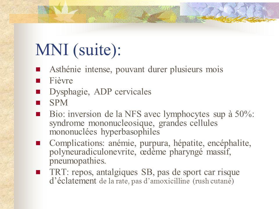 MNI (suite): Asthénie intense, pouvant durer plusieurs mois Fièvre