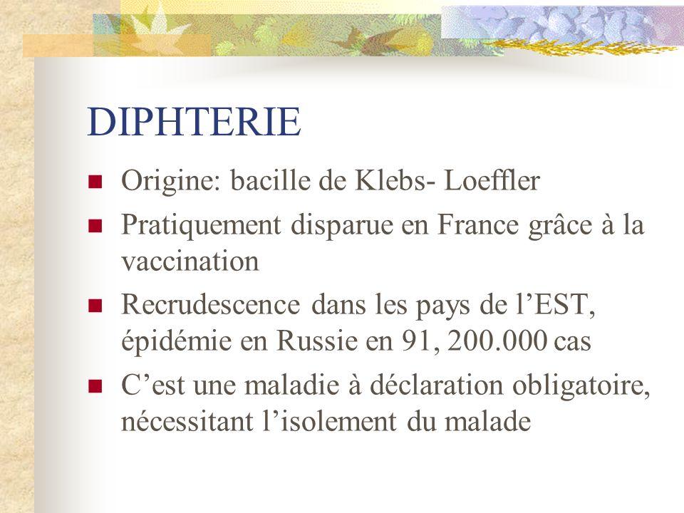 DIPHTERIE Origine: bacille de Klebs- Loeffler