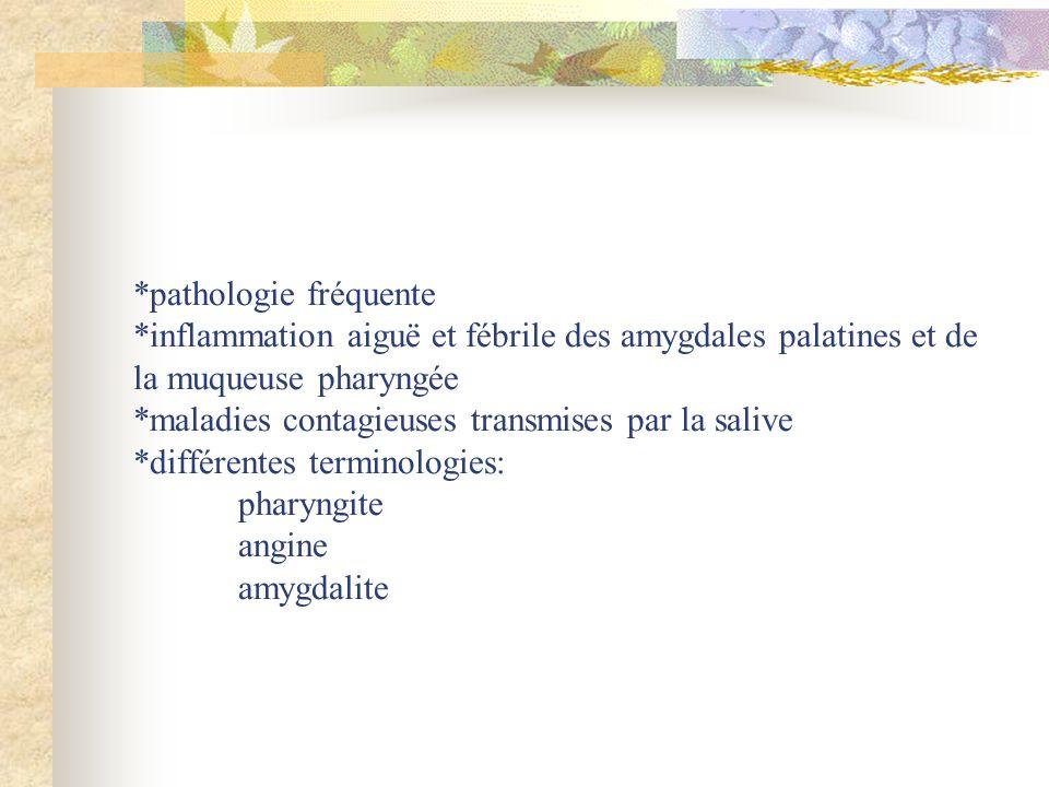 *pathologie fréquente *inflammation aiguë et fébrile des amygdales palatines et de la muqueuse pharyngée *maladies contagieuses transmises par la salive *différentes terminologies: pharyngite angine amygdalite