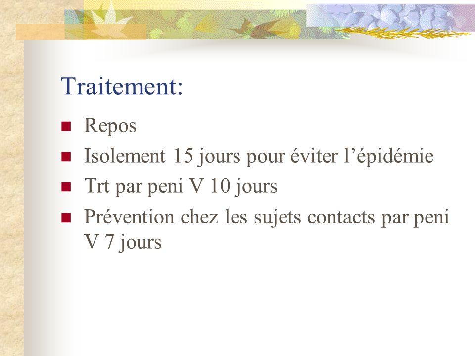 Traitement: Repos Isolement 15 jours pour éviter l'épidémie
