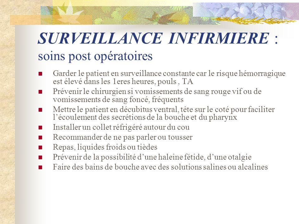 SURVEILLANCE INFIRMIERE : soins post opératoires