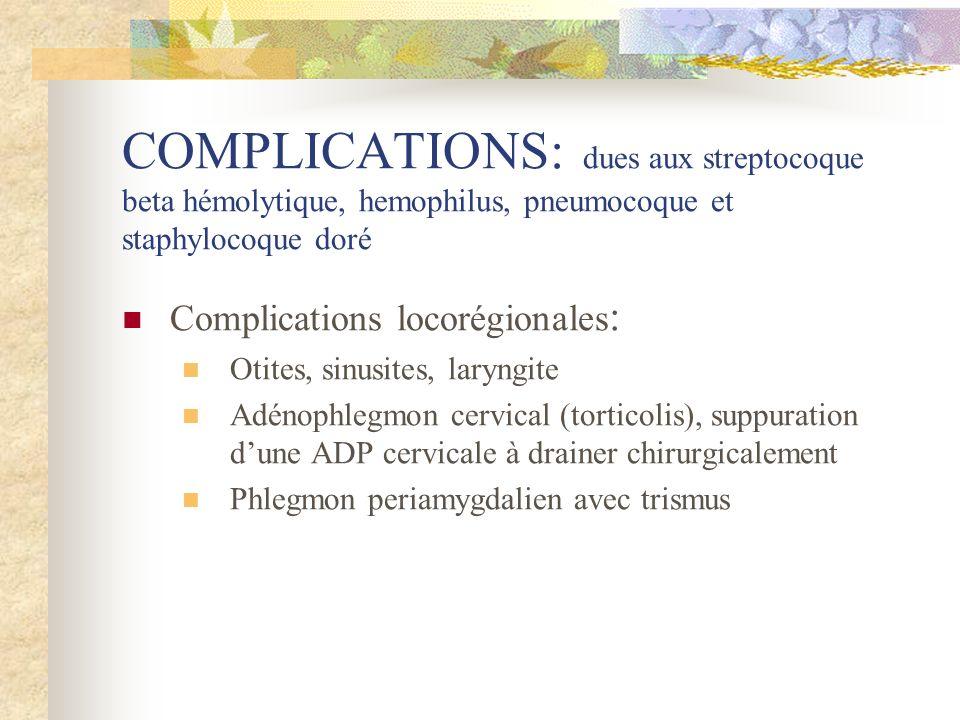 COMPLICATIONS: dues aux streptocoque beta hémolytique, hemophilus, pneumocoque et staphylocoque doré