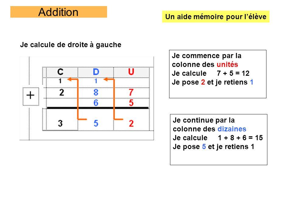 Addition Un aide mémoire pour l'élève Je calcule de droite à gauche