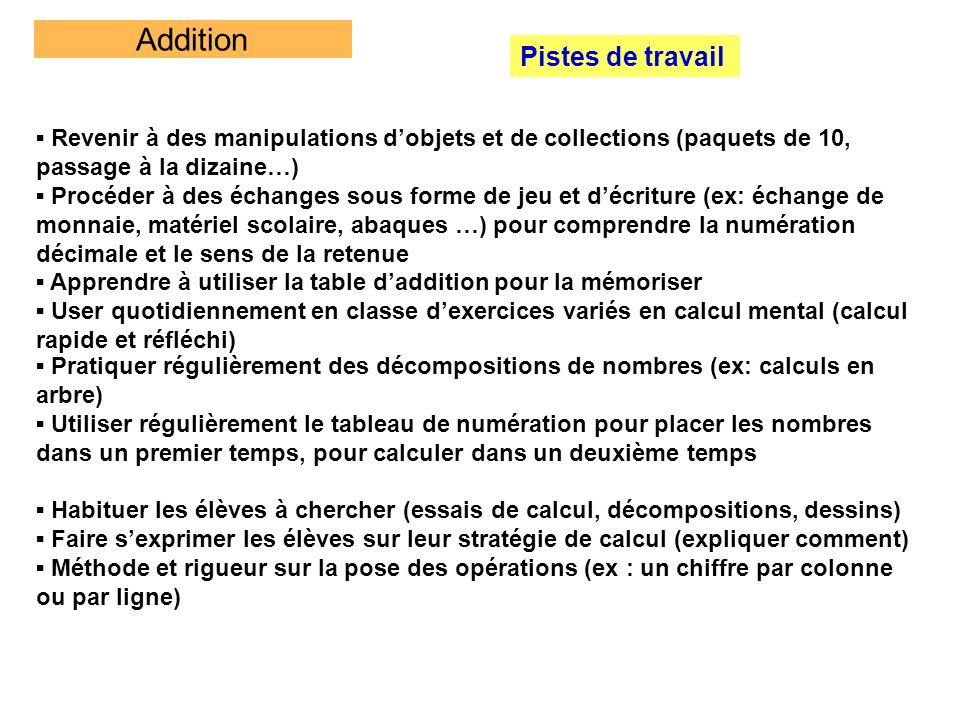Addition Pistes de travail