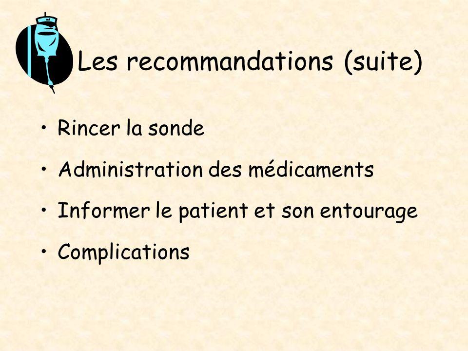 Les recommandations (suite)