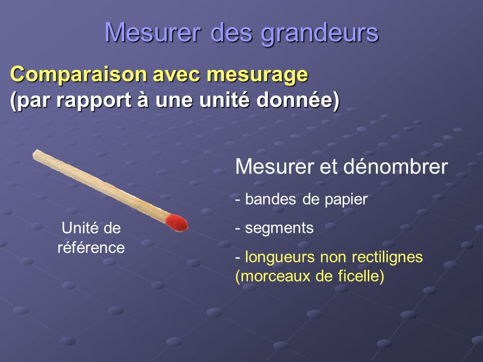 Mesurer des grandeurs Comparaison avec mesurage