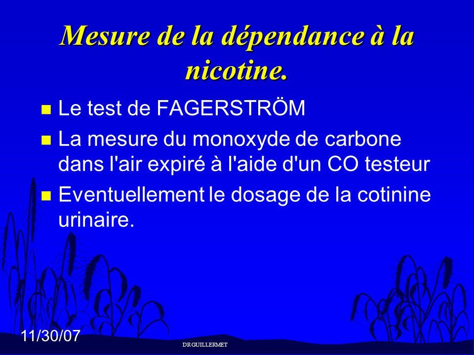 Mesure de la dépendance à la nicotine.