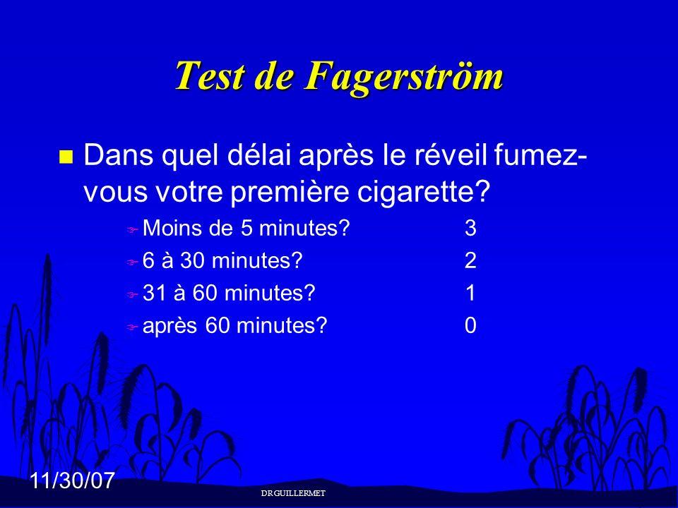 Test de Fagerström Dans quel délai après le réveil fumez-vous votre première cigarette Moins de 5 minutes 3.