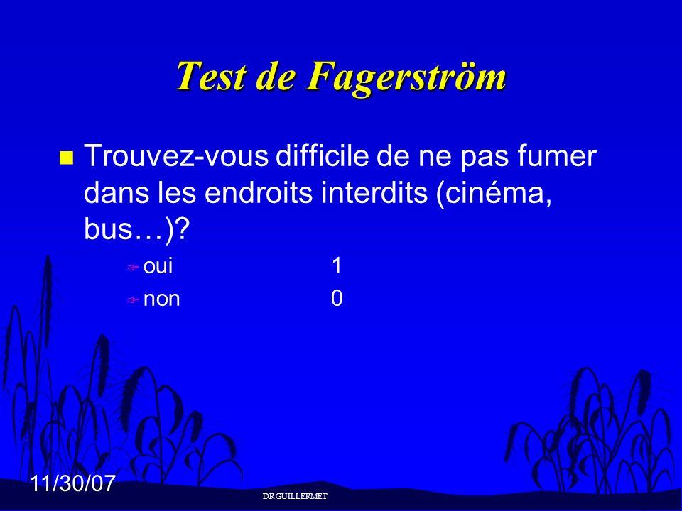 Test de Fagerström Trouvez-vous difficile de ne pas fumer dans les endroits interdits (cinéma, bus…)