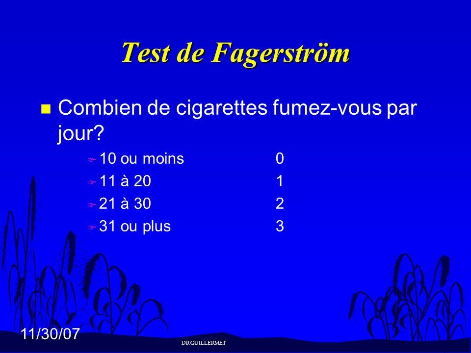 Test de Fagerström Combien de cigarettes fumez-vous par jour