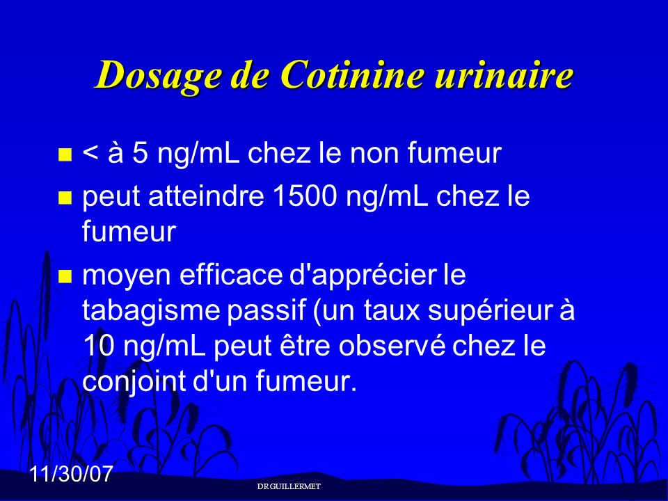 Dosage de Cotinine urinaire
