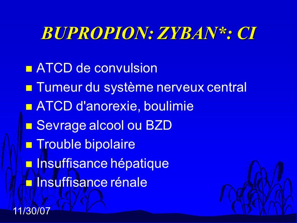 BUPROPION: ZYBAN*: CI ATCD de convulsion