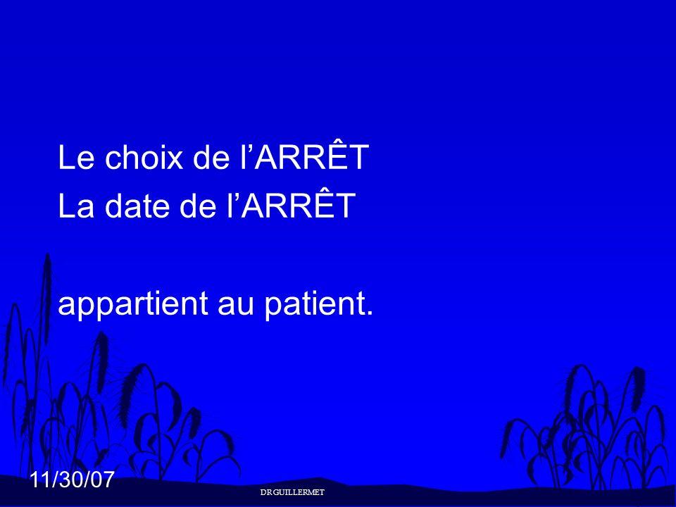 Le choix de l'ARRÊT La date de l'ARRÊT appartient au patient. 18