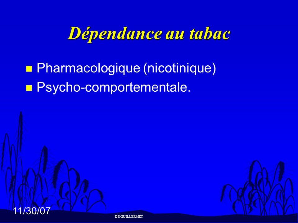 Dépendance au tabac Pharmacologique (nicotinique)
