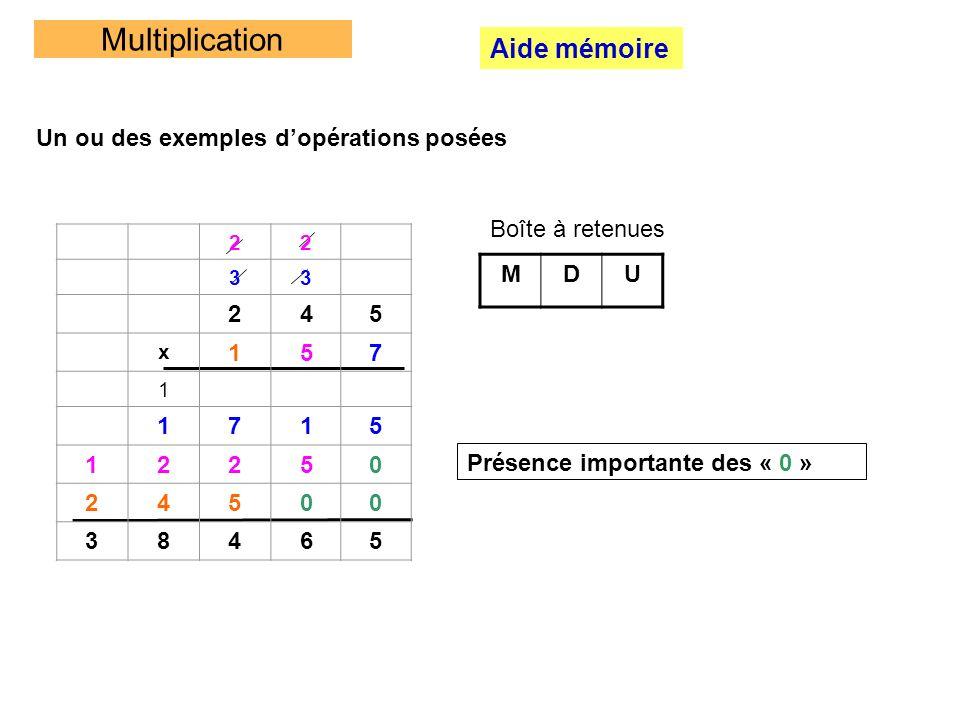 Multiplication Aide mémoire Un ou des exemples d'opérations posées