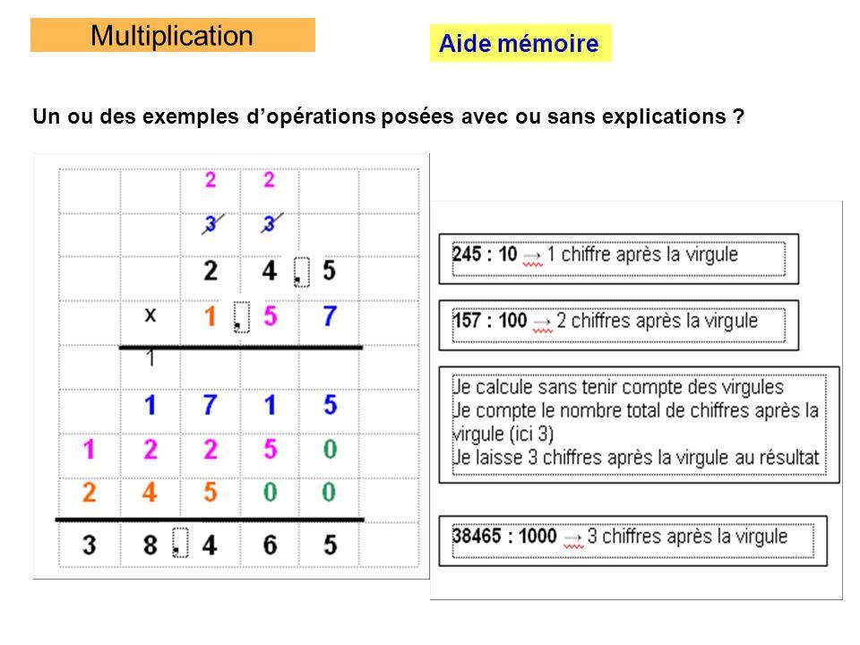 Multiplication Aide mémoire