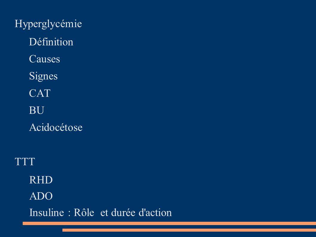 HyperglycémieDéfinition.Causes. Signes. CAT. BU. Acidocétose.