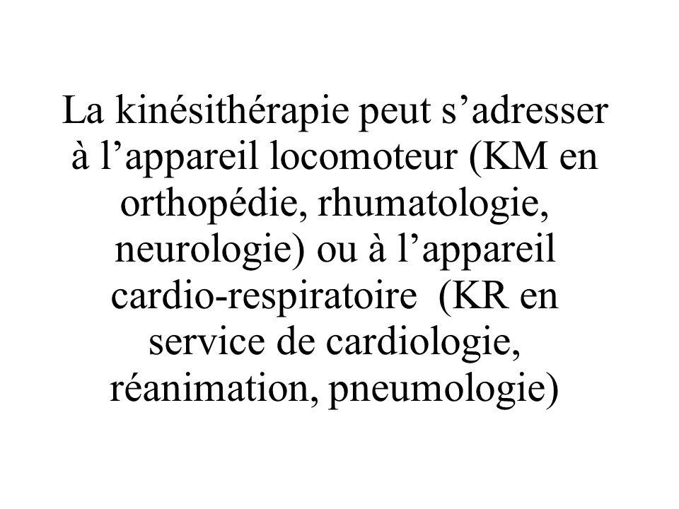 La kinésithérapie peut s'adresser à l'appareil locomoteur (KM en orthopédie, rhumatologie, neurologie) ou à l'appareil cardio-respiratoire (KR en service de cardiologie, réanimation, pneumologie)