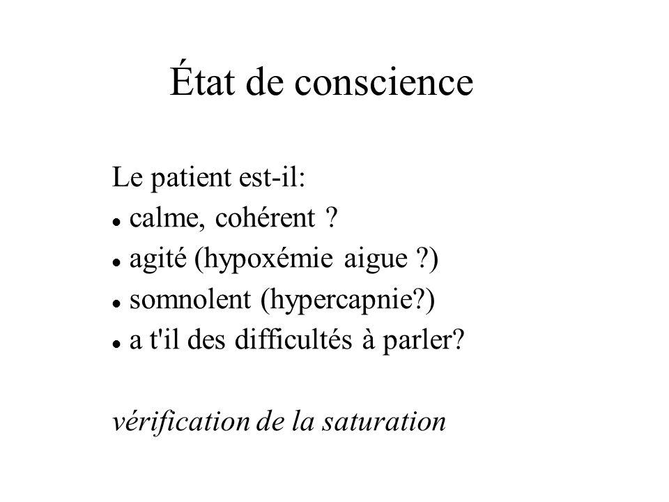 État de conscience Le patient est-il: calme, cohérent