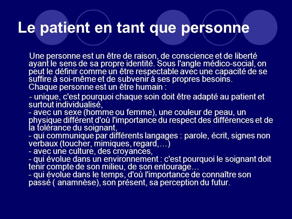 Le patient en tant que personne
