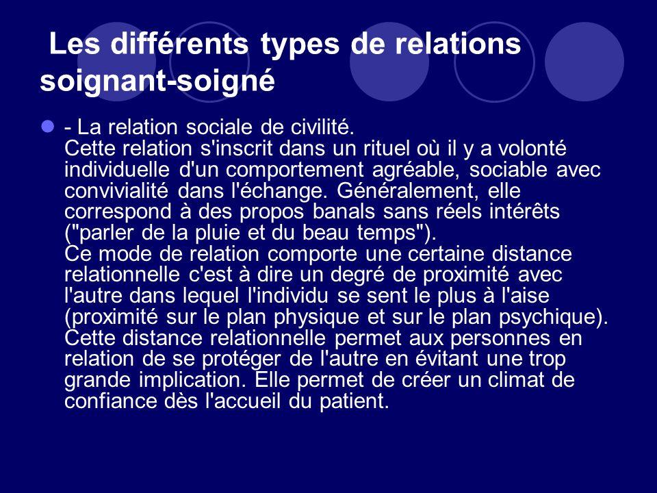 Les différents types de relations soignant-soigné