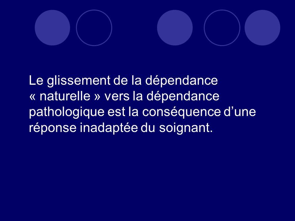 Le glissement de la dépendance « naturelle » vers la dépendance pathologique est la conséquence d'une réponse inadaptée du soignant.