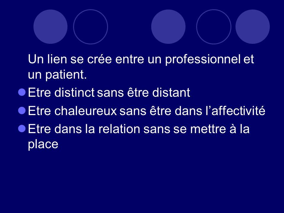Un lien se crée entre un professionnel et un patient.
