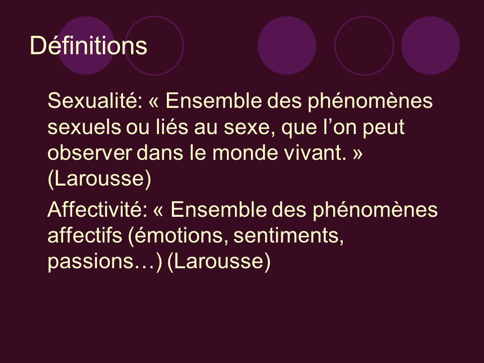 DéfinitionsSexualité: « Ensemble des phénomènes sexuels ou liés au sexe, que l'on peut observer dans le monde vivant. » (Larousse)