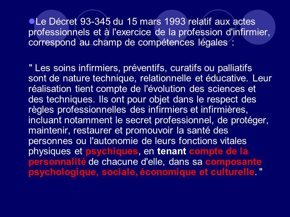 Le Décret 93-345 du 15 mars 1993 relatif aux actes professionnels et à l exercice de la profession d infirmier, correspond au champ de compétences légales :