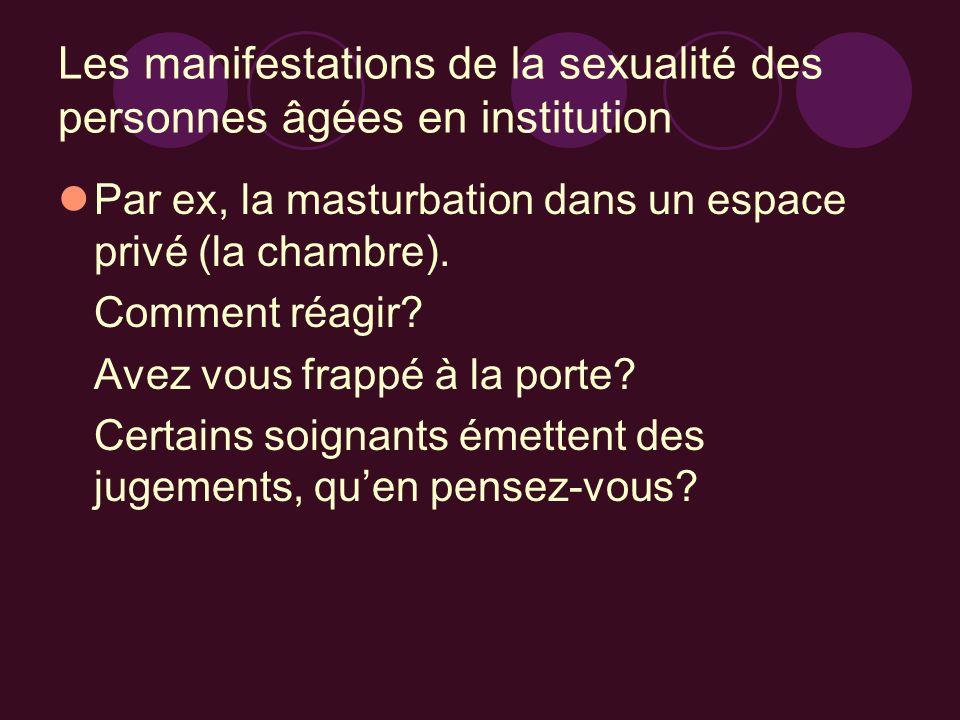 Les manifestations de la sexualité des personnes âgées en institution