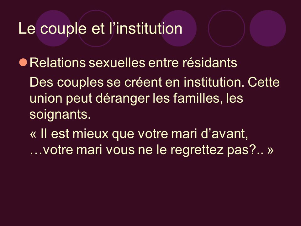 Le couple et l'institution