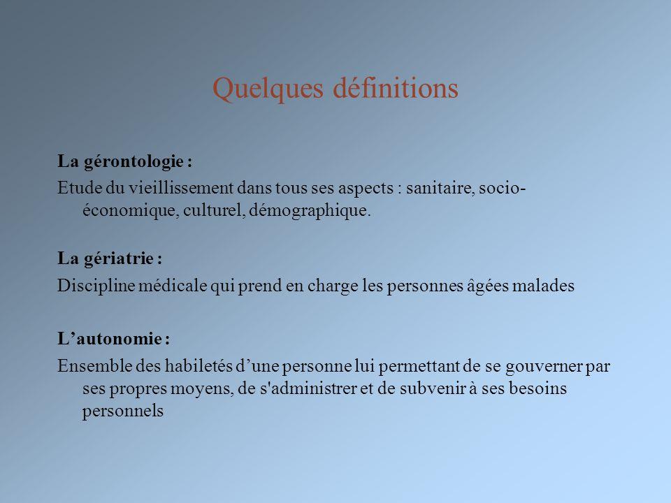 Quelques définitions La gérontologie :