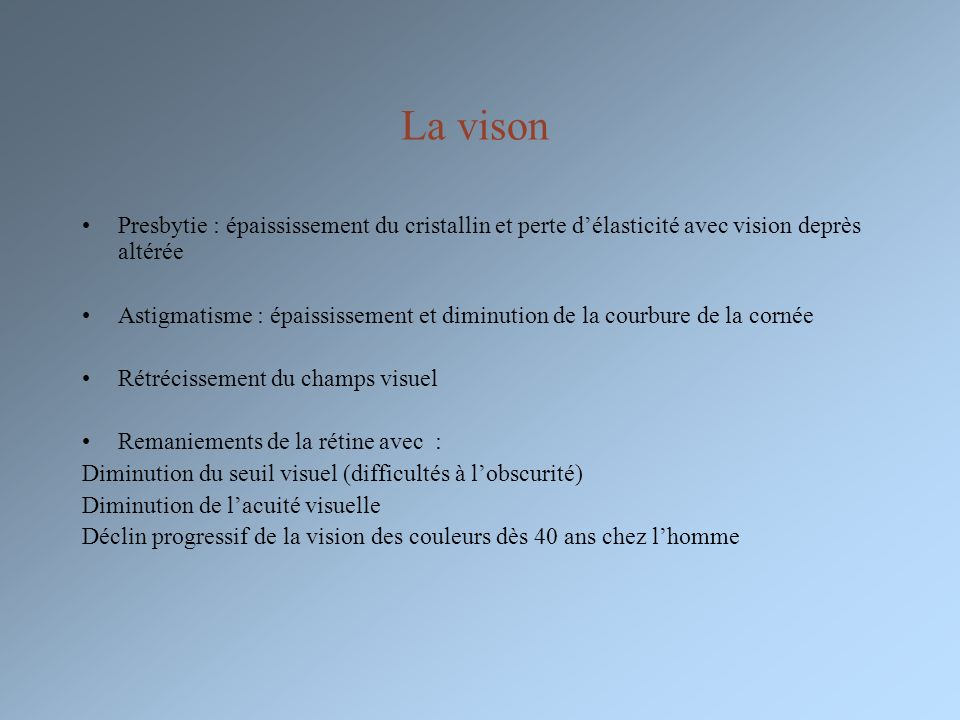 La vison Presbytie : épaississement du cristallin et perte d'élasticité avec vision deprès altérée.