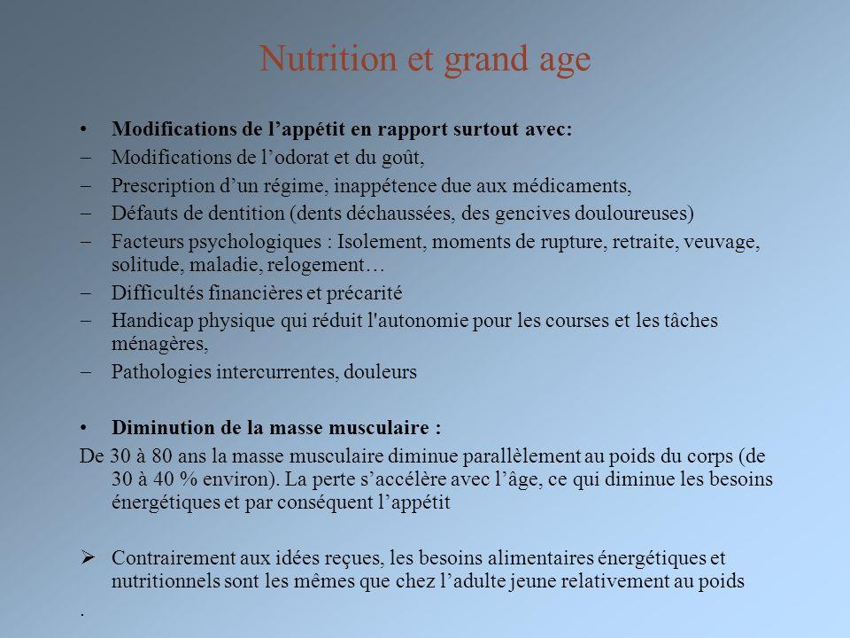 Nutrition et grand age Modifications de l'appétit en rapport surtout avec: Modifications de l'odorat et du goût,