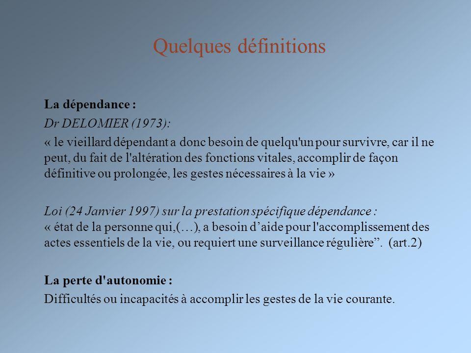 Quelques définitions La dépendance : Dr DELOMIER (1973):