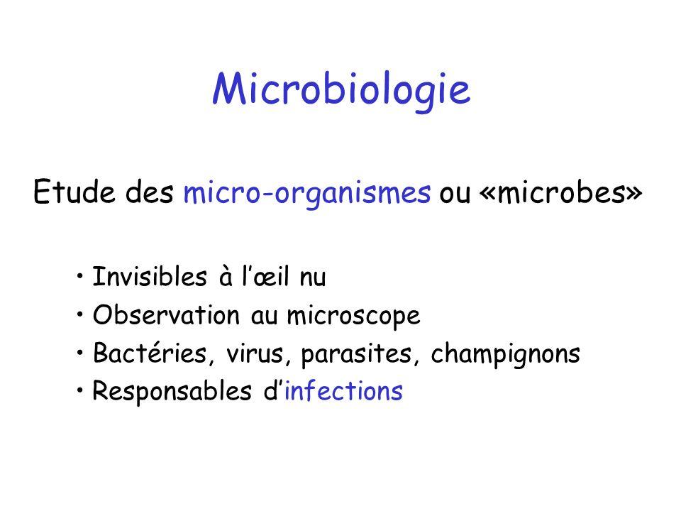 Microbiologie Etude des micro-organismes ou «microbes»