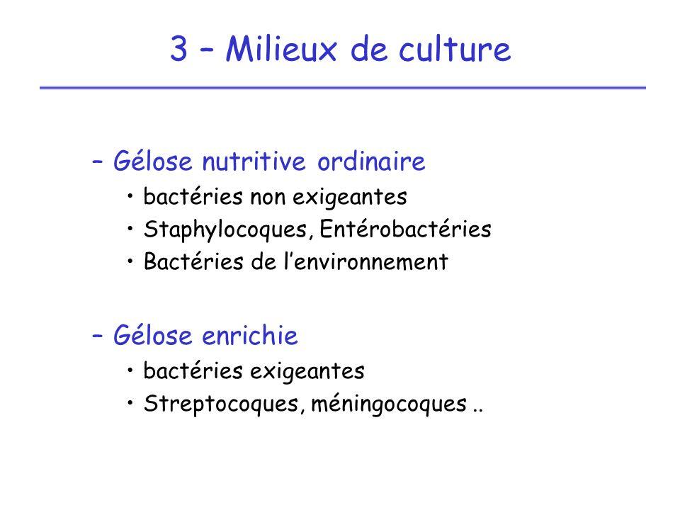 3 – Milieux de culture Gélose nutritive ordinaire Gélose enrichie