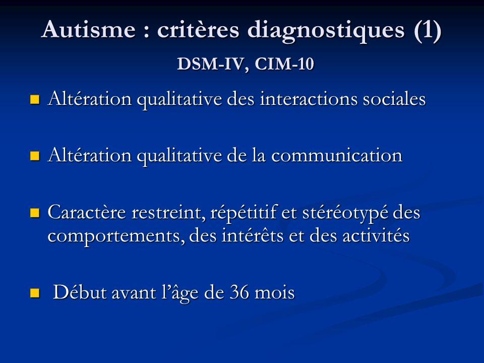 Autisme : critères diagnostiques (1) DSM-IV, CIM-10