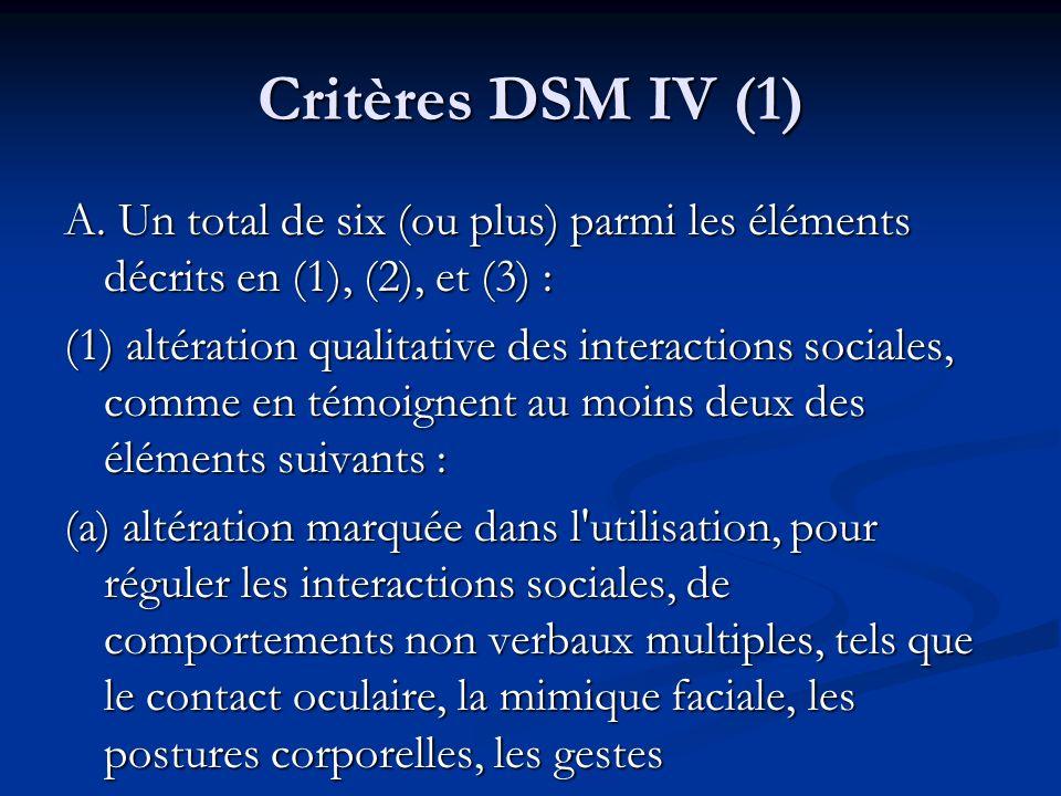 Critères DSM IV (1)A. Un total de six (ou plus) parmi les éléments décrits en (1), (2), et (3) :