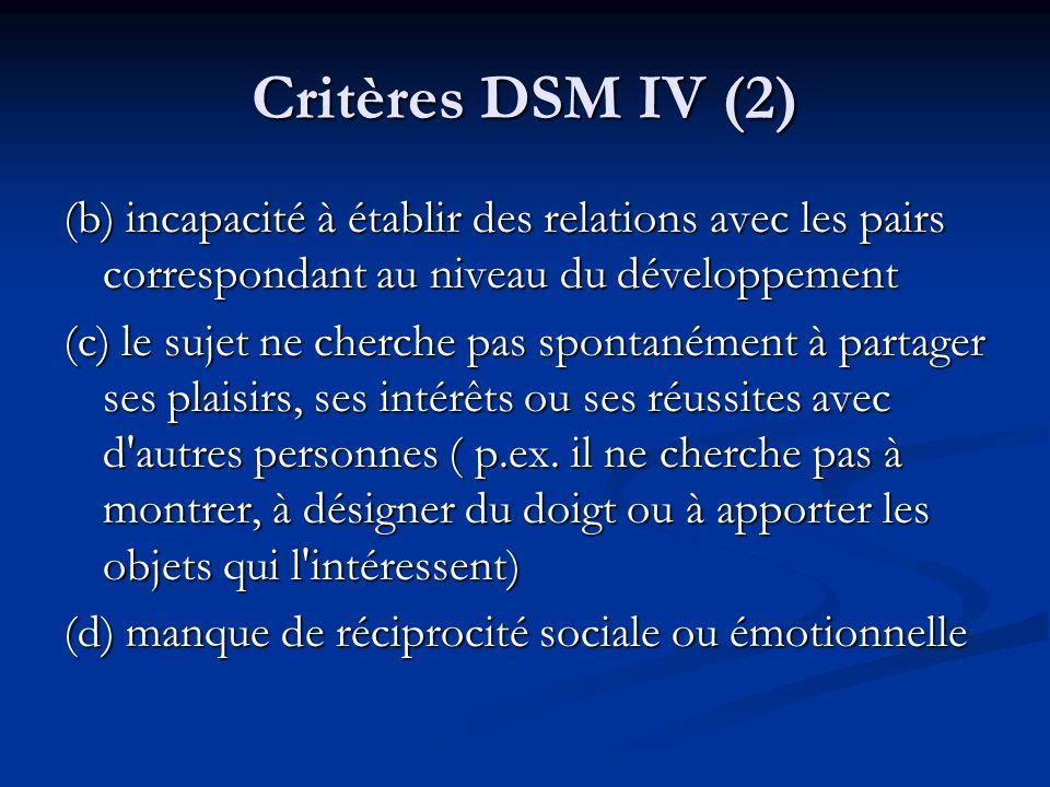 Critères DSM IV (2) (b) incapacité à établir des relations avec les pairs correspondant au niveau du développement.