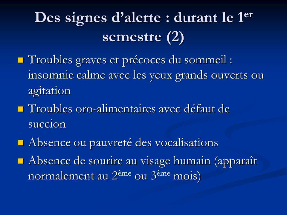 Des signes d'alerte : durant le 1er semestre (2)