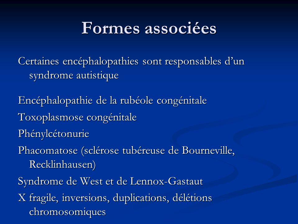 Formes associéesCertaines encéphalopathies sont responsables d'un syndrome autistique. Encéphalopathie de la rubéole congénitale.