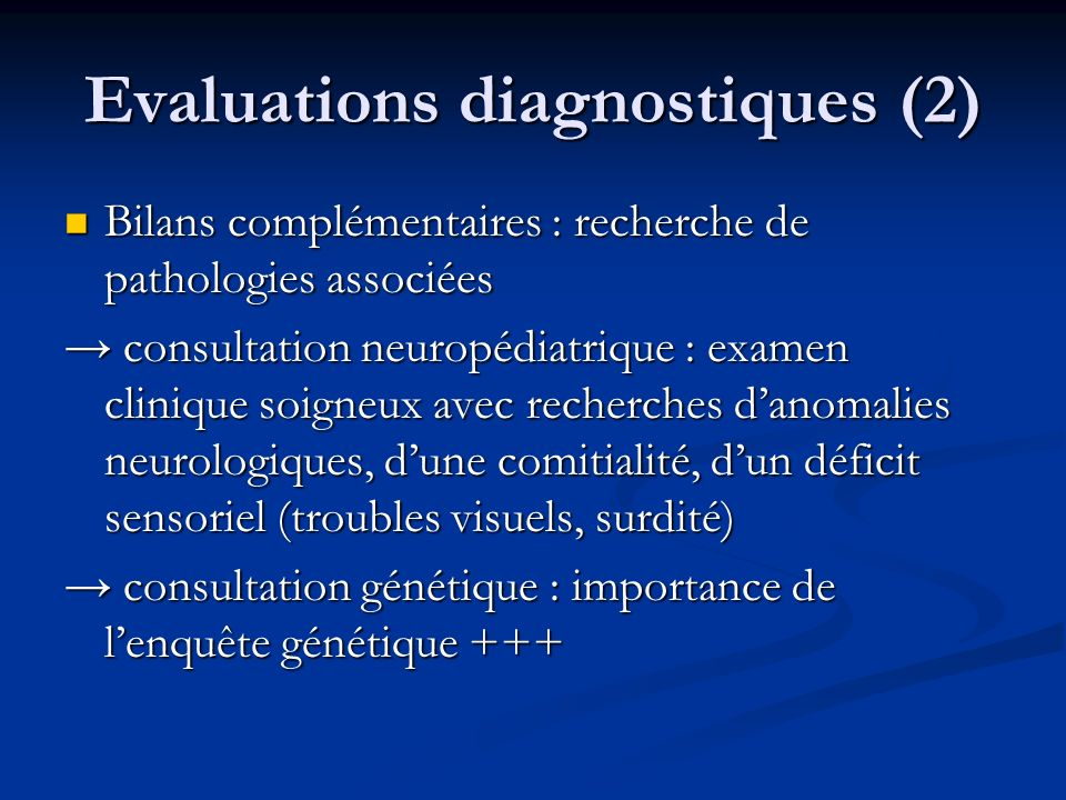 Evaluations diagnostiques (2)