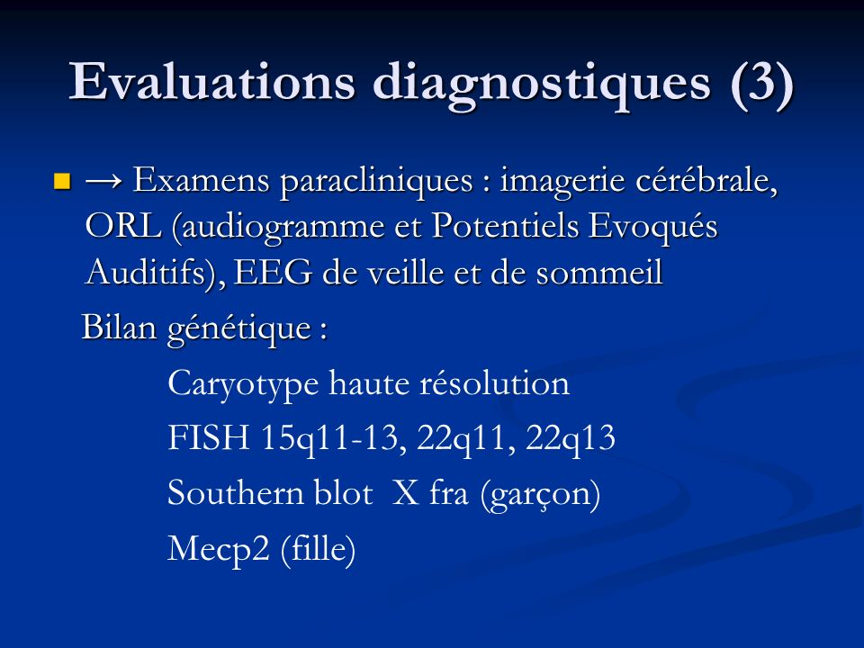 Evaluations diagnostiques (3)