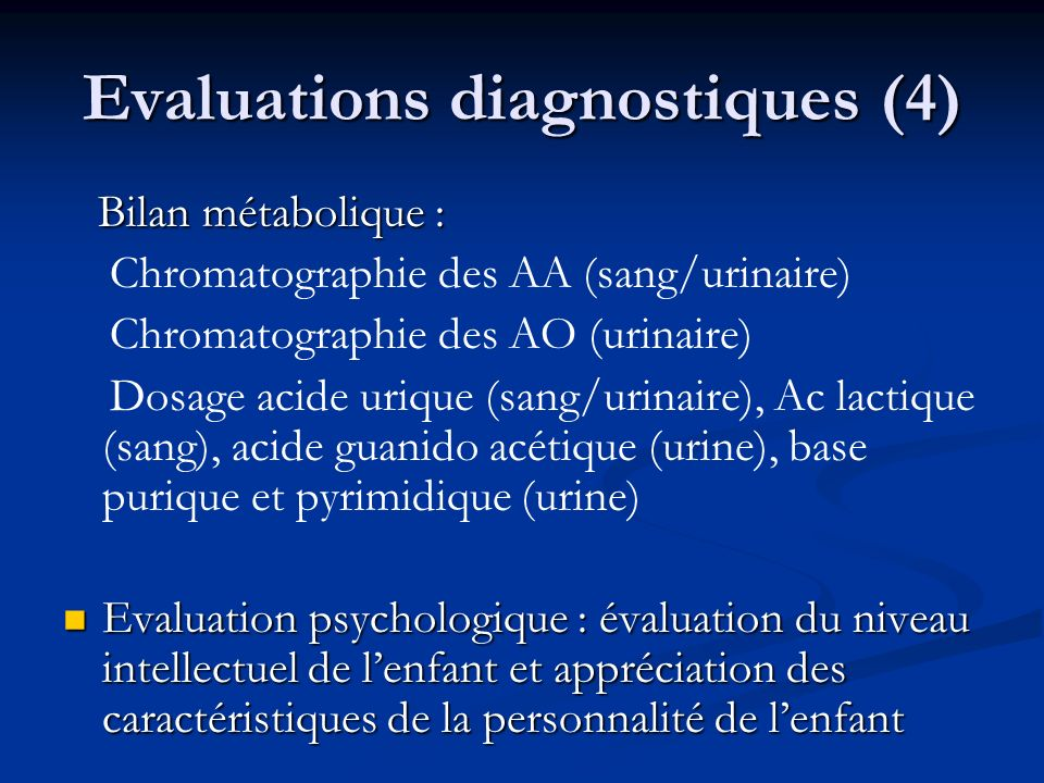 Evaluations diagnostiques (4)