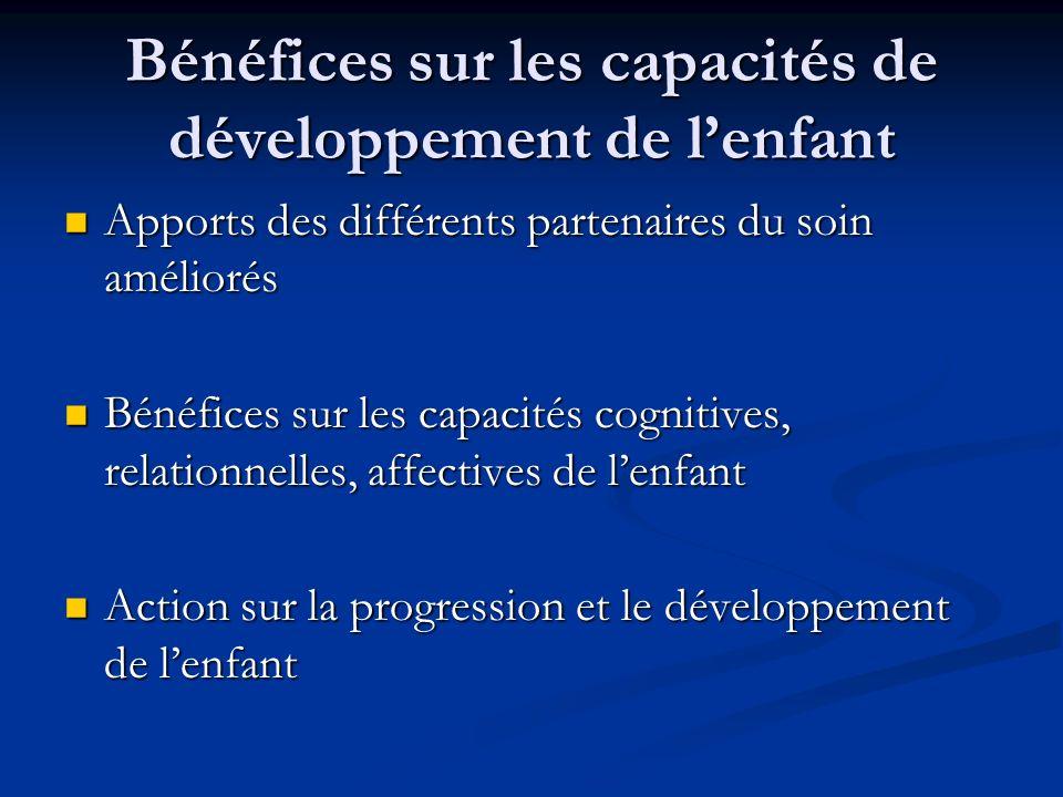 Bénéfices sur les capacités de développement de l'enfant