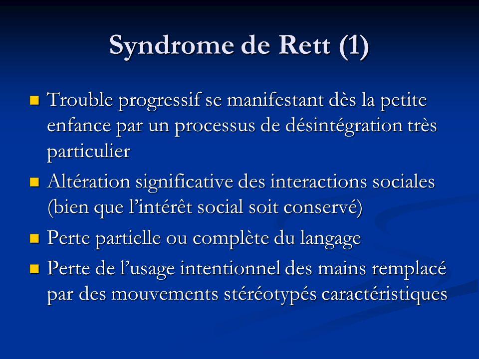 Syndrome de Rett (1)Trouble progressif se manifestant dès la petite enfance par un processus de désintégration très particulier.