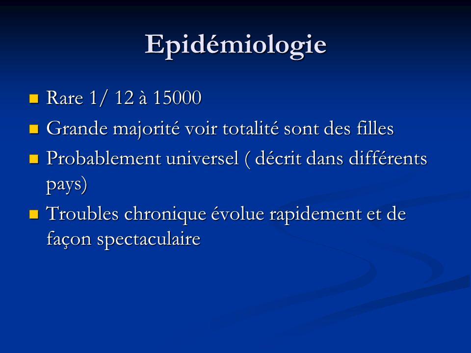 Epidémiologie Rare 1/ 12 à 15000. Grande majorité voir totalité sont des filles. Probablement universel ( décrit dans différents pays)