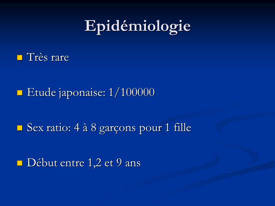 Epidémiologie Très rare Etude japonaise: 1/100000